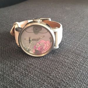 White leather Fossil Love watch